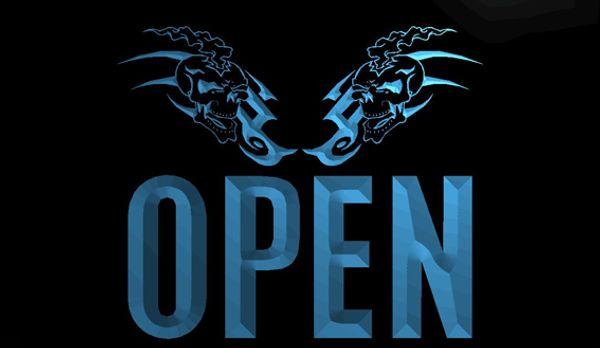 LS623-b-OPEN-Tattoo-Skull-Shop-Art-Bar-Neon-Light-Sign Decor Free Shipping Dropshipping Wholesale 8 colors to choose