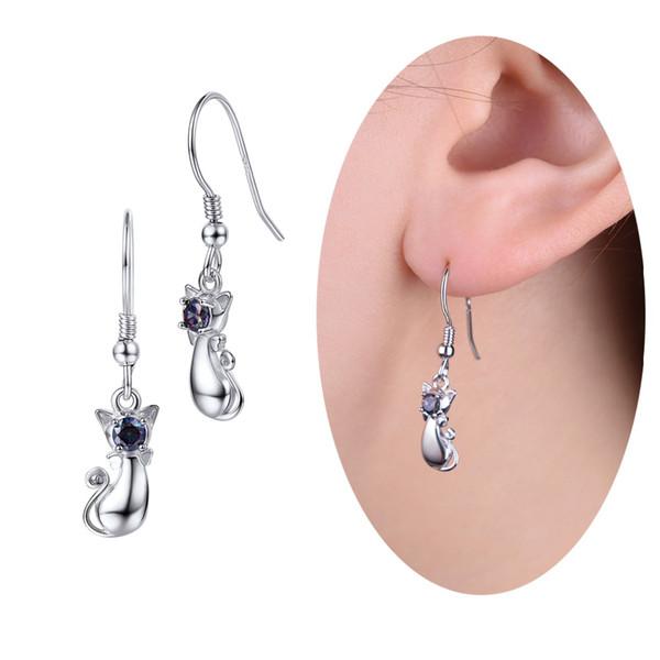 U7 925 Sterling Silver Dangle Cat Drop Earring Best Gift For Women Brincos Bijoux Piercing Trend Jewelry Earrings Wholesale SC64