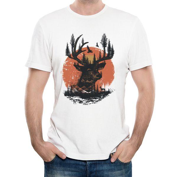 Mode Natur Kunst Design Deer T-shirt Männer Sonnenuntergang Druck T Shirts Sommer Harajuku Hipster T-shirts Coole Tops