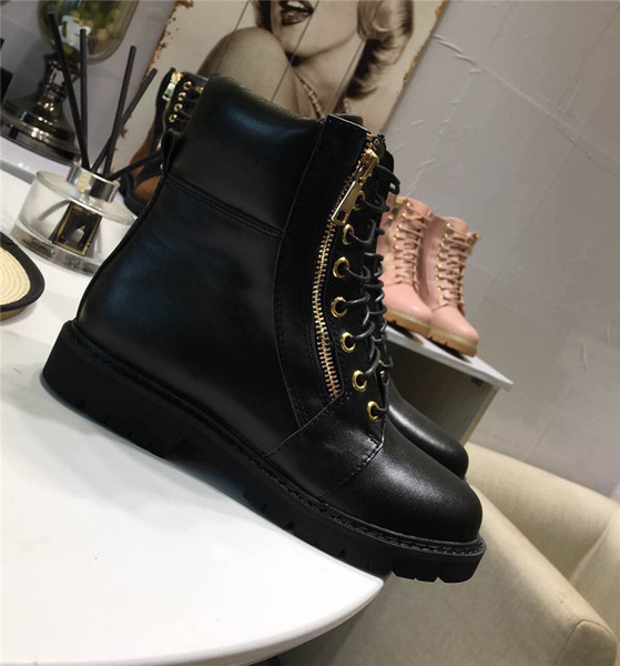 0Balmain37 Women Lace-Up Ankle Boots Side Zip Buckled Leather Boots Suede Low Heel Round Toe Gold-Tone Hardware Martin Shoes Luxury Brand 39