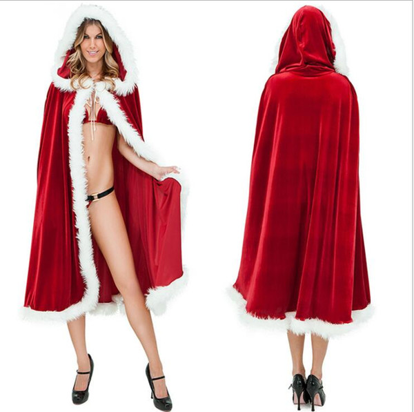 sexy women christmas Santa Claus cloak Halloween dance costumes pink fancy sexy capes wholesale fashion hooded cape adult Festival clothes