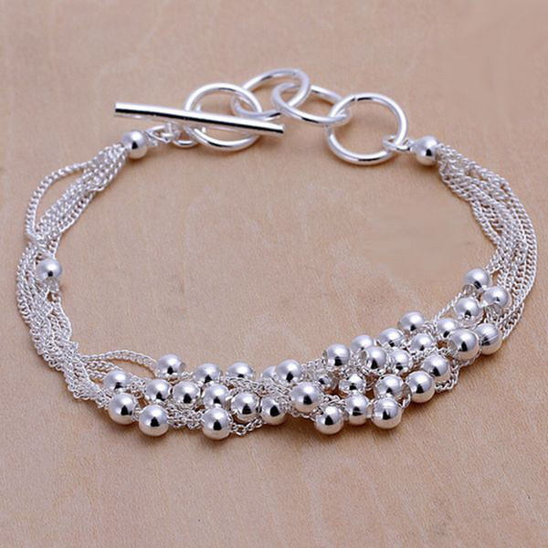 Fine 925 Sterling Silver Bracelet,XMAS New Style 925 Silver Chain beads Bracelet For Women Men Fashion Jewelry n Link Italy Percing XH101