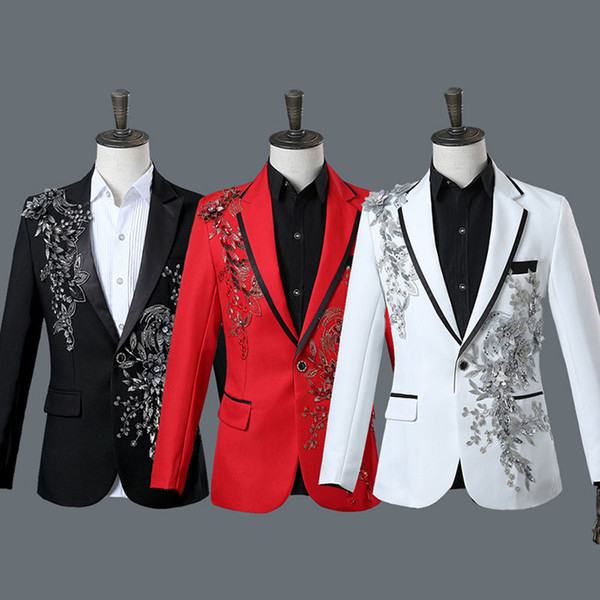 High Quality 2018 Fashion Four Colors Long Sleeve Floral Diamonds Singer Stage Performance Suits Blazers Jacket for Men