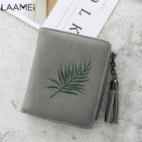 Laamei Women Short Wallet Embroidered Tassel Female Short Money Bag Wallets PU Leather Zipper Coin Purses Fashion Card Holder
