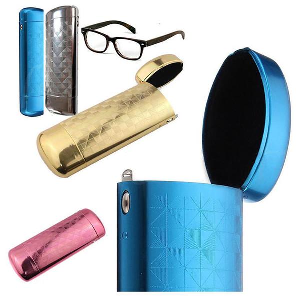 New Fashion Hard Metal Aluminum Lattice Glasses Case Capsule Flip Top Eyeglasses Case Protector For Glasses Storage Tools