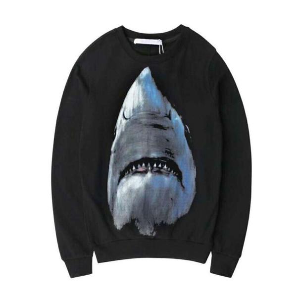 Brand men casual black cotton hoodies sweatshirt luxury shark printed pullover hoodies streetwear mens clothing winter hoodie sweatshirt men