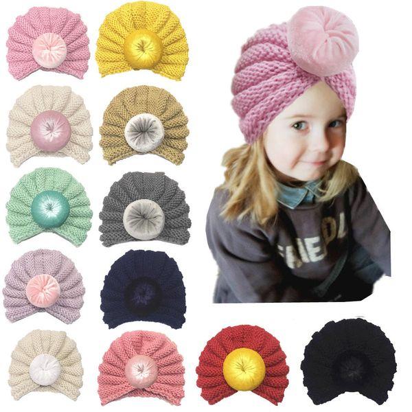 Niños bebés niñas niños nudo bola gorras niños tejer lana Crochet sombrero infantil Toddler Boutique Indian Turban primavera otoño 12 colores