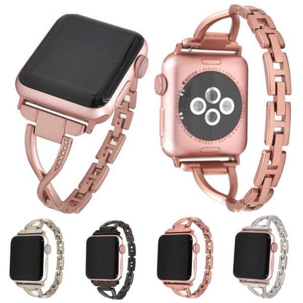 X Luxury Diamond bandas de acero inoxidable correa de la correa para Apple iwatch S1 S2 S3 38 mm 42 mm reloj elegante de la correa Rhinestone con hebilla GSZ468