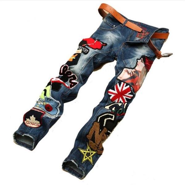 Europen amerikanischen Stil Herrenmode Marke Baumwolle Patchwork Männer Denim Hose bunte Jeans Luxus Slim Straight Jeans Männer