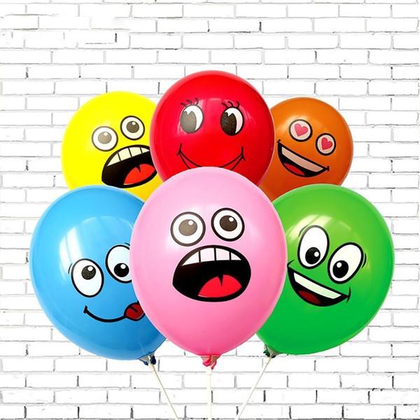 10 PCs / lot Mignon Imprimé Grands Yeux Sourire Jouets Gonflables Joyeux Anniversaire Fête Décoration Gonflable Ballons À Air Ballons Pour Enfants Cadeau