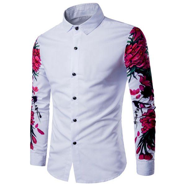 2017 New Arrival Homem shirt do teste padrão design de manga comprida Flores florais impressão Slim Fit Casual homem camisa da forma homens vestem camisas