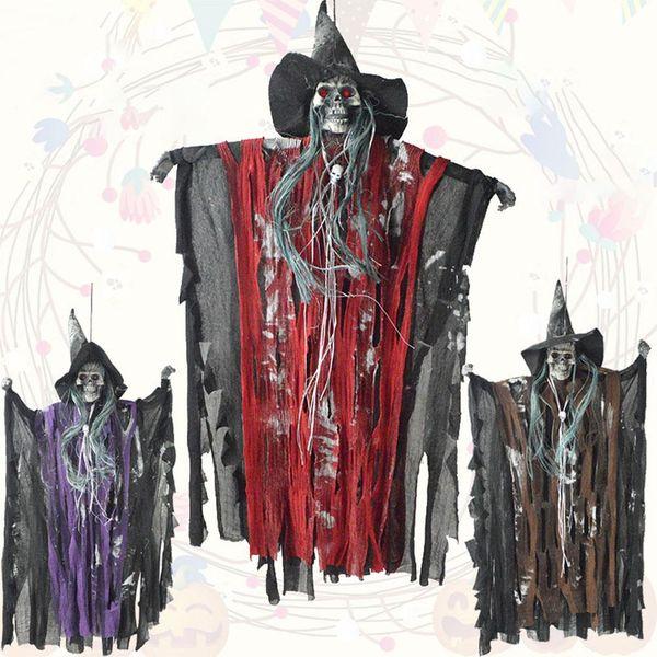Halloween Hung Ghost Horror Contrôle de la voix Ghost / Skull Maison hantée Costumes effrayant fantôme yeux de style. jouet lumineux Halloween