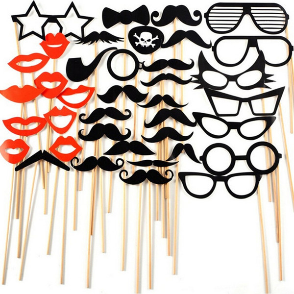 Fun Booth Props Glasses Mustache Lip Wedding Party Decoration Birthday Christmas New Year Event Favors 38 PCS/bag
