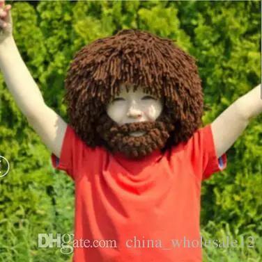 ed06678a03a 2019 Mad Scientist Rasta Caveman Handmade Wig Beard Hobo Hats Knit ...
