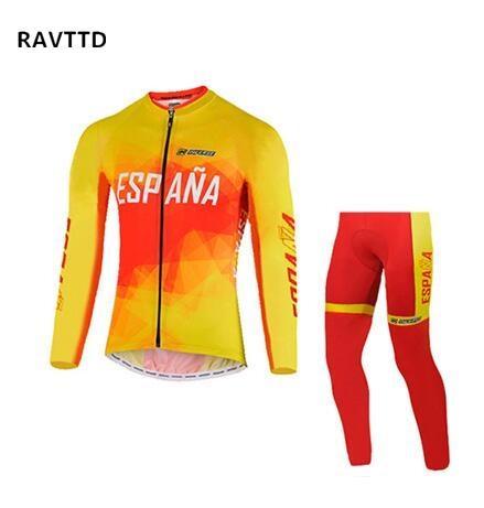 İspanya Pro Team Polar Kış Uzun Kollu Bisiklet Jersey Giyim Ve Pantolon Setleri Dağ Yolu Giymek Bisiklet Gömlek