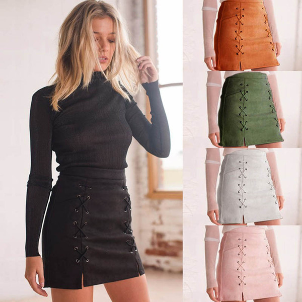 Wholesale- Women Leather Suede Pencil Skirt Black Mini Skirt 2017 Summer High Waist Short Bodycon Lace Up Skirts Sexy Split Skirts DP939225