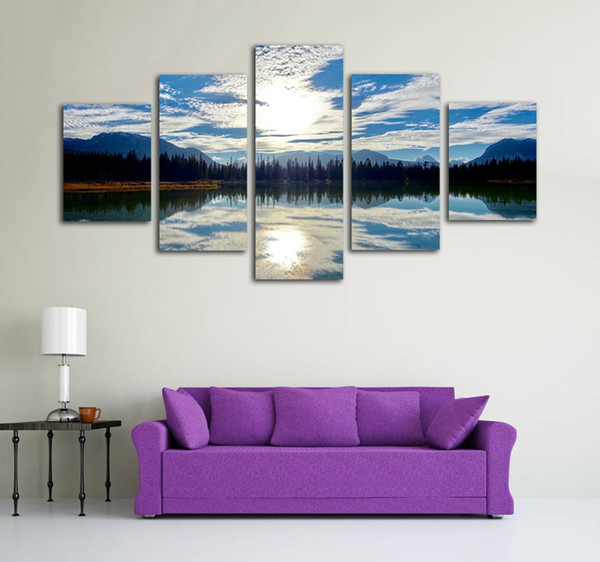 Unframed 5 Pieces Sunny Lake Reflections Scenery Painting for Home Decoration Picture Canvas Printed Posters Wall Artwork