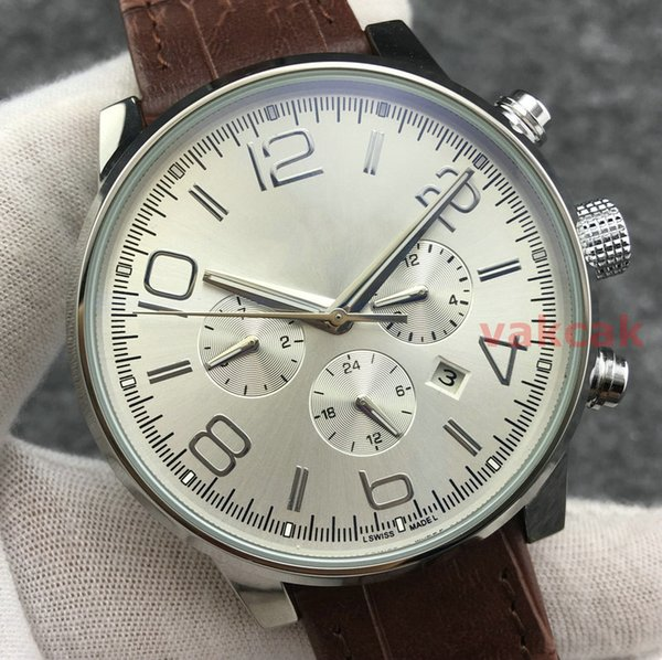 New Mens Movement Automatic Mechanical Wristwatches Stainless Steel Top Luxury Brand Brown Leather Strap Watch Sport Self-Wind Males Watches