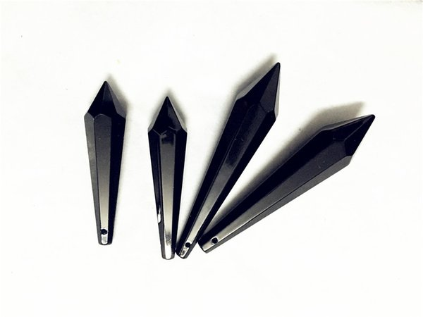 Kolye K9 Kaliteli Kristal Cam Prizma U-Bırak Kolye, Kristal Icicle Avize Parçaları Siyah Renk 10 adet / grup 38 / 60mm / 80mm