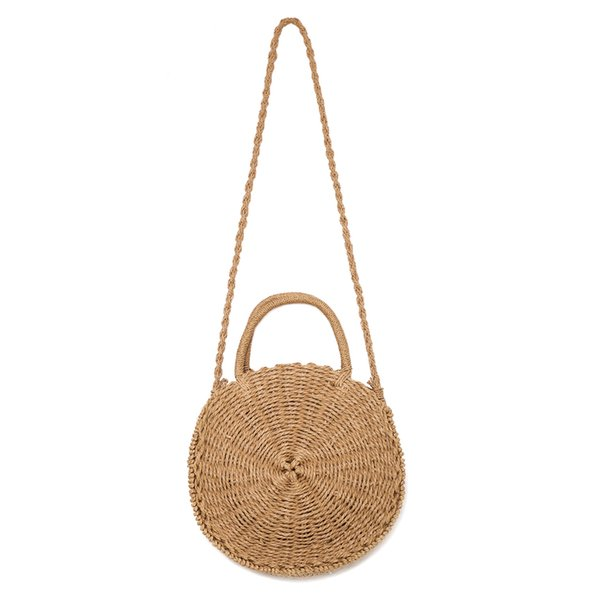 5980482f9d90 Straw Crossbody Bag Women Weave Shoulder Bag Round Summer Beach Purse And  Handbags Handmade Leather Bags Totes Bags From Larath, $8.12| DHgate.Com