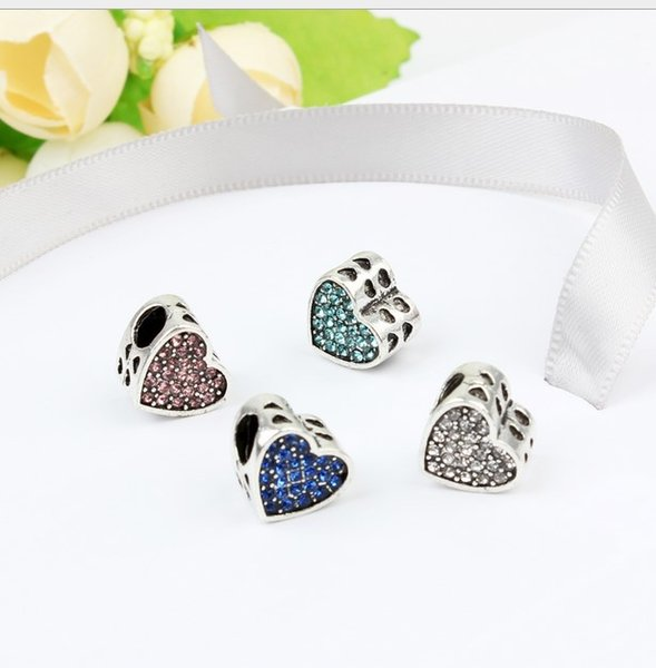 Wholesale 30pc Heart Paved Crystal Charm Sterling Silver European Charms Bead Big Hole Fit Pandora Bracelets Snake Chain Fashion DIY Jewelry