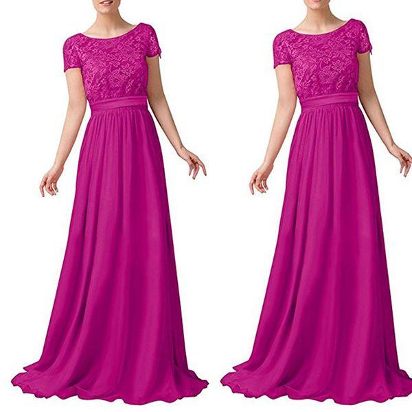 Long Bridesmaid Dresses Jewel Neck Short Sleeve A Line Chiffon Lace Long Evening Dresses Party Gowns Prom Dress Custom