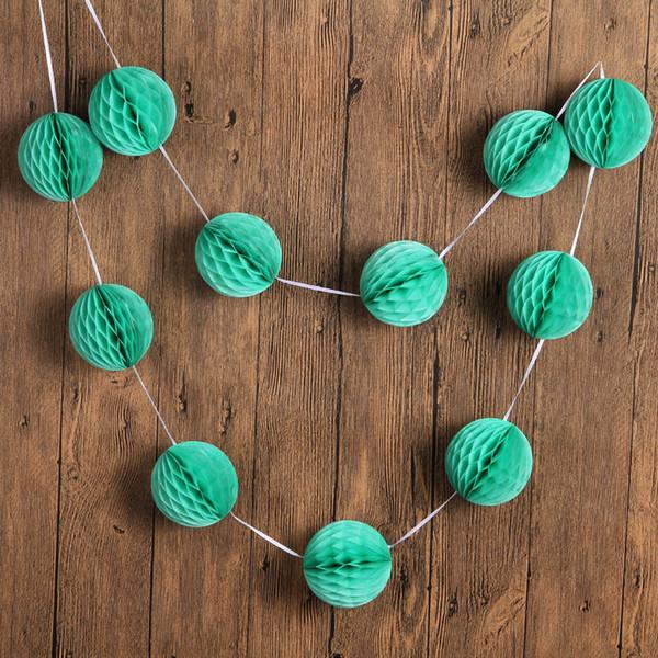 "3sets /Lot 7ft 11pcs *3 ""/Set Mint Green Small Tissue Paper Honeycomb Ball Garland Summer Birthday Wedding Baby Shower Decorations"