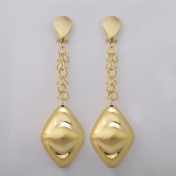 Venta al por mayor de moda Dubai oro-color de la joyería conjunto grandes pendientes largos de la gota cuelgan para las mujeres joyería de la boda de Nigeria