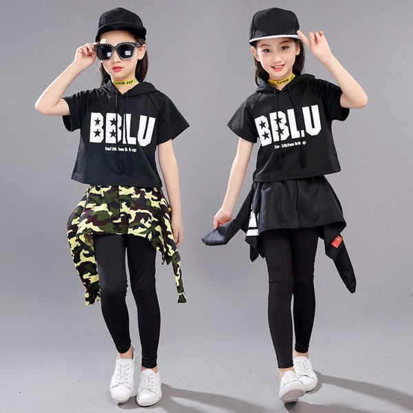 New Style Fashion Kids Ballroom Modern Jazz Hip Hop Dance Competition Costume Set for Girls Street Dancing Clothing