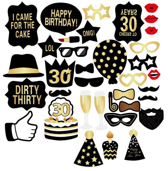 Birthday Photo Booth Props Kit 30 Years Old Photo Booth Prop Birthday Party Decoration 1 Yw300 Partyware Personalized Party Favors From Bling World