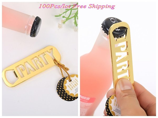 (100 Pieces/lot) Unique Gold wedding and Party souvenirs of Gold Party Bottle Opener favors for any Graduation Party gifts