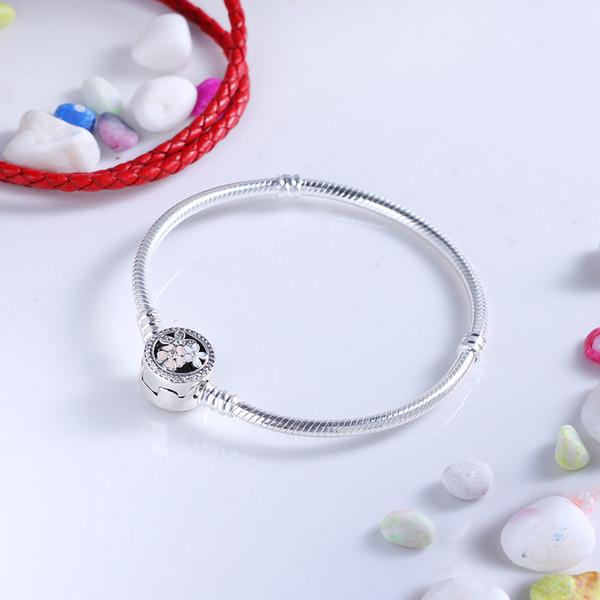 Los granos de Pandora de plata auténtica 925Sterling Poético Blooms mixta Esmaltes CZ clara pulsera cabida encantos de la joyería pulsera DIY bolas 590744 Logo