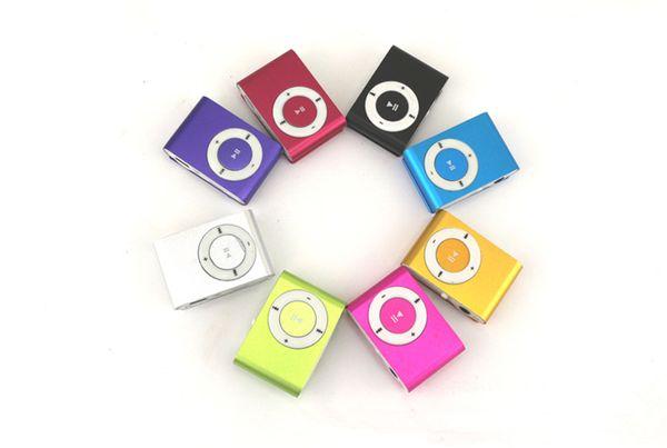Mini clip MP3 Supporto Micro TF / slot SD con auricolare e cavo USB Lettori MP3 portatili gratis