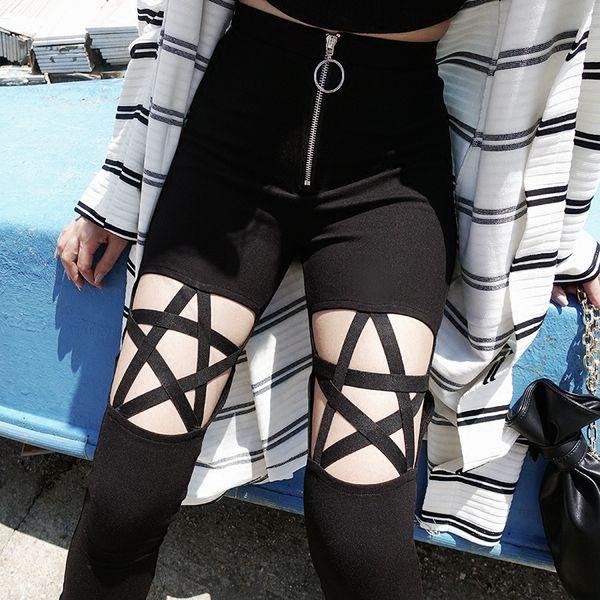 Yeni Moda Punk Gotik Kadın Pantolon Tayt Beş Köşeli Yıldız Kadın Giyim Oymak