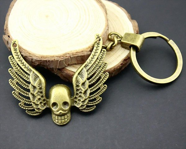 6 pieces key chain women key rings fashion keychains for men wing skull 51x46mm
