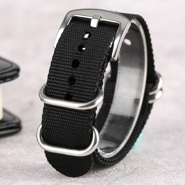 20/22/24mm Silver Buckle High Quality Nylon Sport Outdoor Watch Band  NATO Replacement Strap Bracelet for Clock Hour