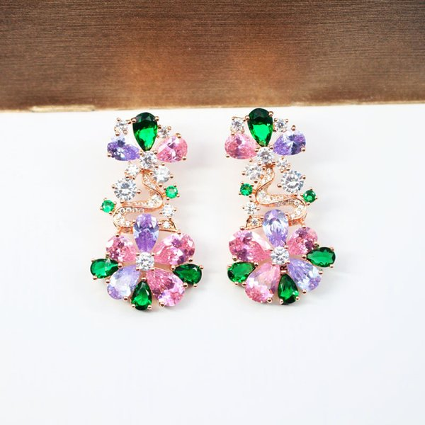 Brand Design Fashion Gems Earrings For Women 18K Gold Plated Jewelry Bling Cubic Zirconia Flowers Earring Luxury Party Ear Studs Wholesale