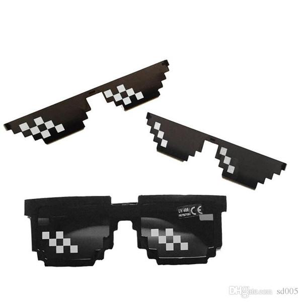 Novelty Vintage Mosaic Glasses Trendy Sunglasses Hot Sale Gifts For Kid Polygonal 8 Bits Style Vintage Pixel Eyewears 2 5mm jjWW