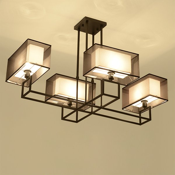 NEW China rectangular ceiling lamp retro fabric + iron 4 heads ceiling Light Antique study bedroom Living room Home lighing G342