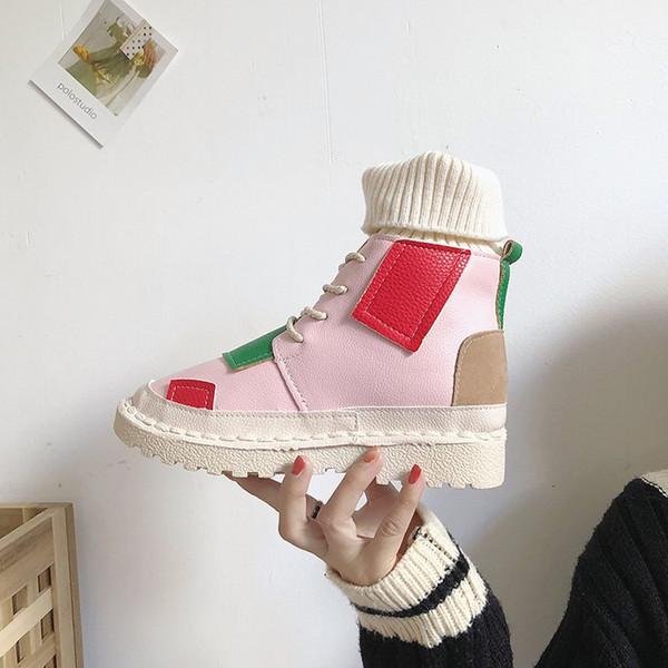 Зимняя мода короткие сапоги Женская обувь ботильоны Мартин сапоги стрейч носки мотоцикл сапоги плоский каблук смешанный цвет быстрая доставка