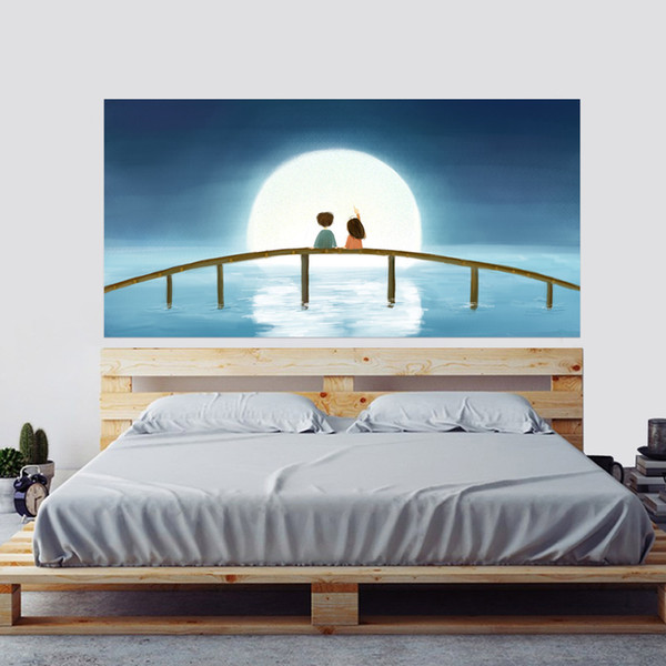 Creative Lit Tête Décoration 3D Stickers Muraux de Bande Dessinée Lune Couple Motif pour Chambre Décor Grande Taille DIY Mural Art Image