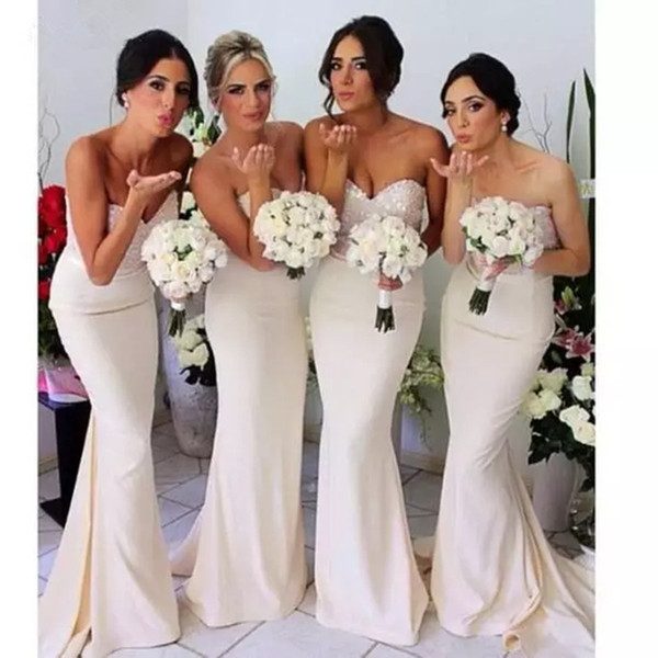 Beaded Sequins Mermaid Bridesmaid Dresses 2018 Sweetheart Neckline Long Evening Dress New Prom Gowns Floor Length