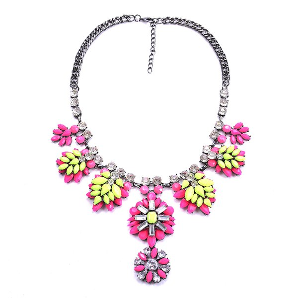 PPG&PGG New Shourouk Flower Leaf Crew Rhinestone Charm Bib Neon Statement fashion statement necklace