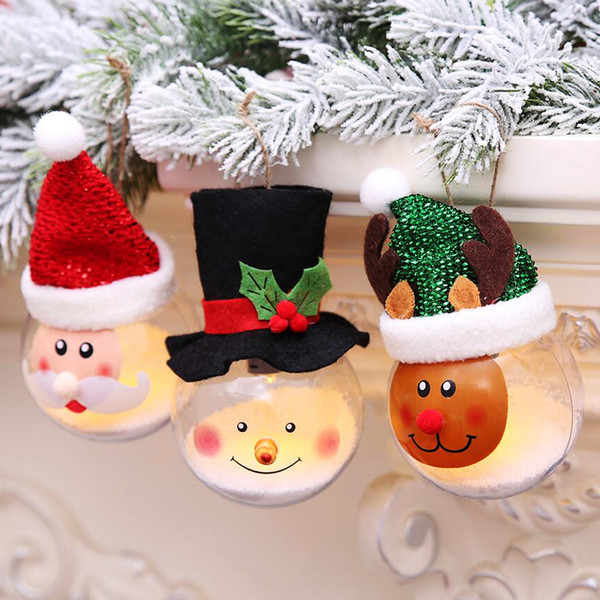Mignon LED Boule De Noël Arbre Lumières Suspendus Ornement Boules De Polystyrène Père Noël Bonhomme De Neige Cerf Rond Transparent Boule De Mousse