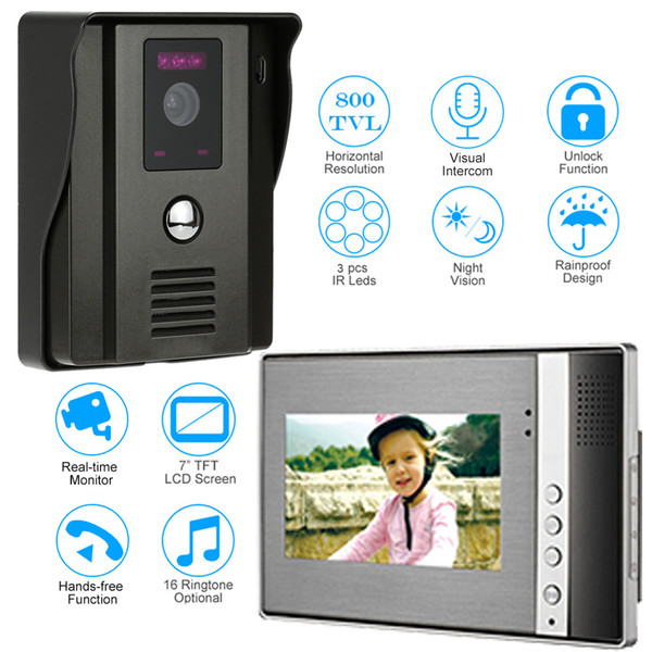 Video Door Phone Two-way Audio Intercom System Doorbell With IR Camera Night Vision Unlock 7 Inch TFT LCD Monitor