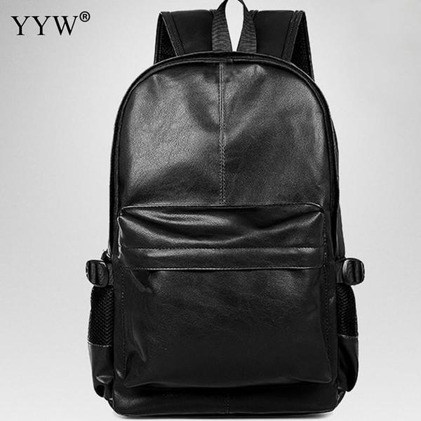 Zaino di cuoio dell'unità di elaborazione degli uomini neri di alta qualità Zaino antifurto marrone di colore solido classico sacchetto di scuola maschile