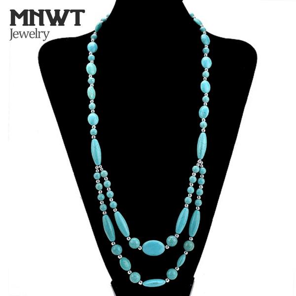MNWT Mode féminine Turquoises Ronds Colliers Bohême Style Charme Femelle Collier Perlé Longue Chaîne Jewelr Cadeau