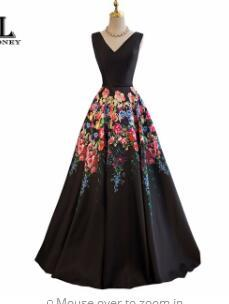 LOVONEY Evening Dresses Long A Line V Neck Sexy Formal Dress Flower Pattern Satin Party Dresses Evening Gown Lace-Up Back M242