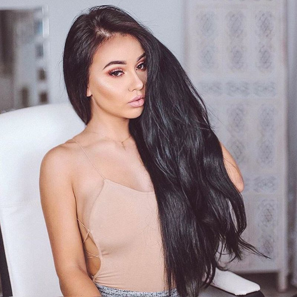 Straight Silk Base Lace Front Wigs Adjustable Pre Plucked Full Lace Human Hair Wigs Glueless Wig for Black Women with Baby Hair Natural