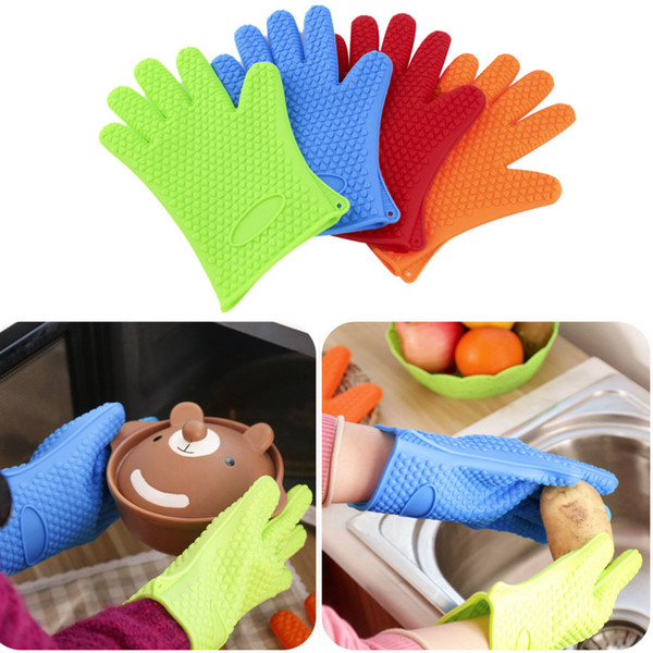 2018 New Thick Silicone Gloves Heat Resistance Oven Mitts Anti-slip Pot Holder Baking BBQ Tools Kitchen Accessories